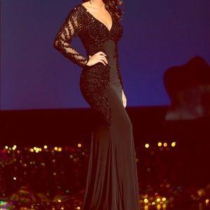 Black Beaded Vienna Gown